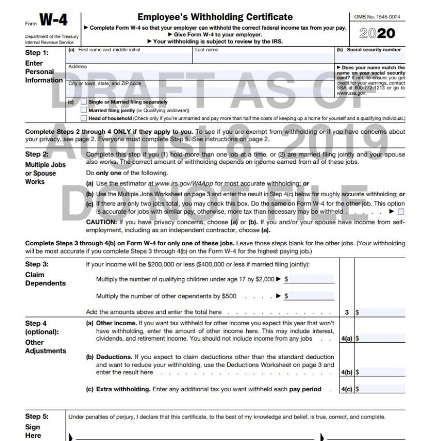 Updated W-4 For Tax Year 2020